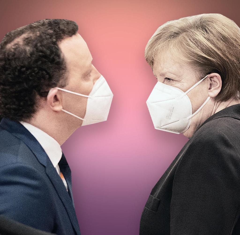 Leadership: Health Minister Jens Spahn (left) and Chancellor Angela Merkel