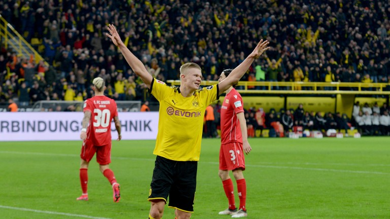 Photo from last season: Erling Haaland celebrated twice in Dortmund 5-0 against Union (Photo: Photo Alliance / Jens Nering)