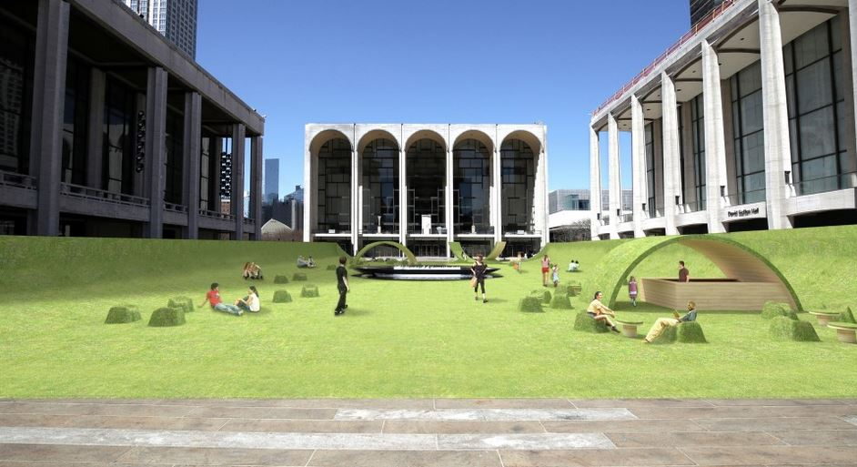 It's supposed to be in front of New York's Lincoln Center in Summer Park