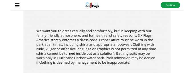 SixFlags Dresscode