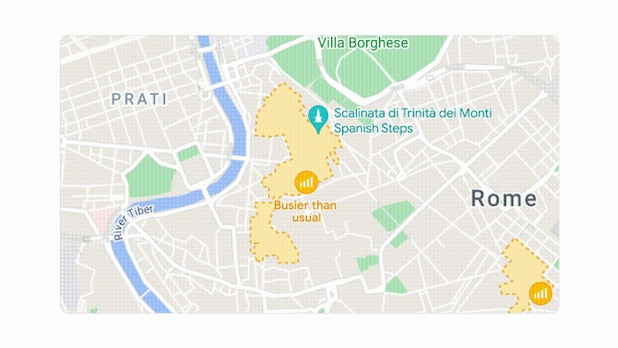 Busy areas are especially visible in Google Maps.