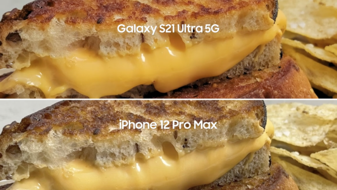 Samsung wants you to know that the Galaxy S21 Ultra takes better photos of their grilled cheese sandwiches than the iPhone