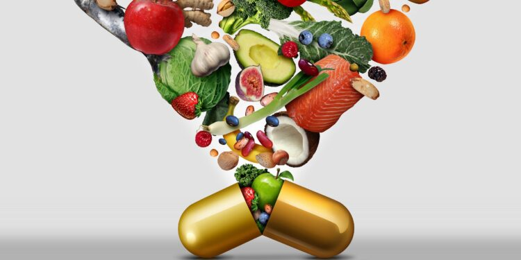 A large number of healthy foods are grouped together in a golden capsule