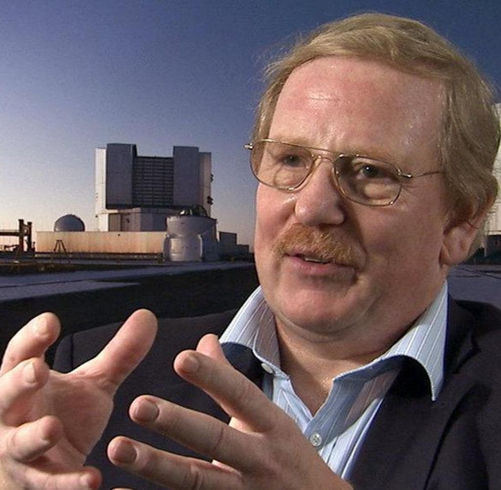 Professor Reinhard Genzel with VLT (photo montage)