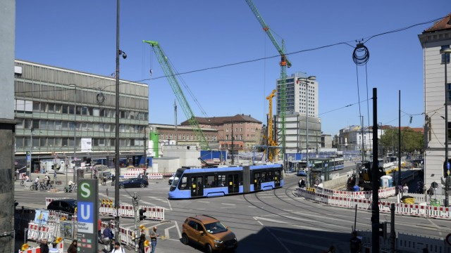 The front station square in Munich, Central Station, 2021