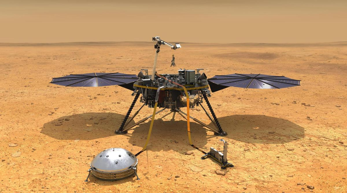 NASA's Insight lander is used on the surface of Mars with measuring instruments.  The dome-shaped device is the Seis seismometer.