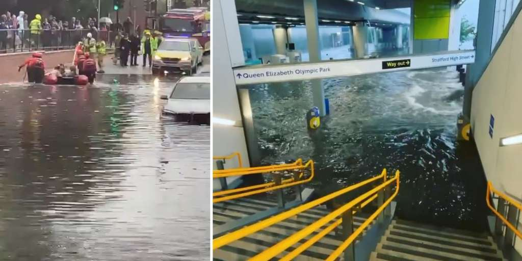 Severe thunderstorms flooded the streets of London