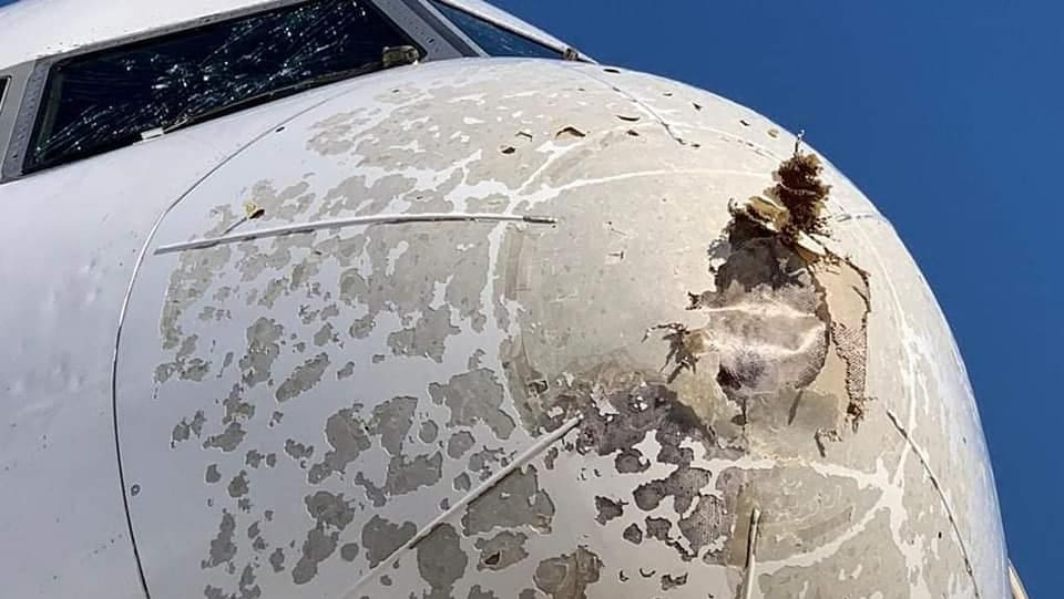 Emirates Airlines has to make an emergency landing due to a hailstorm