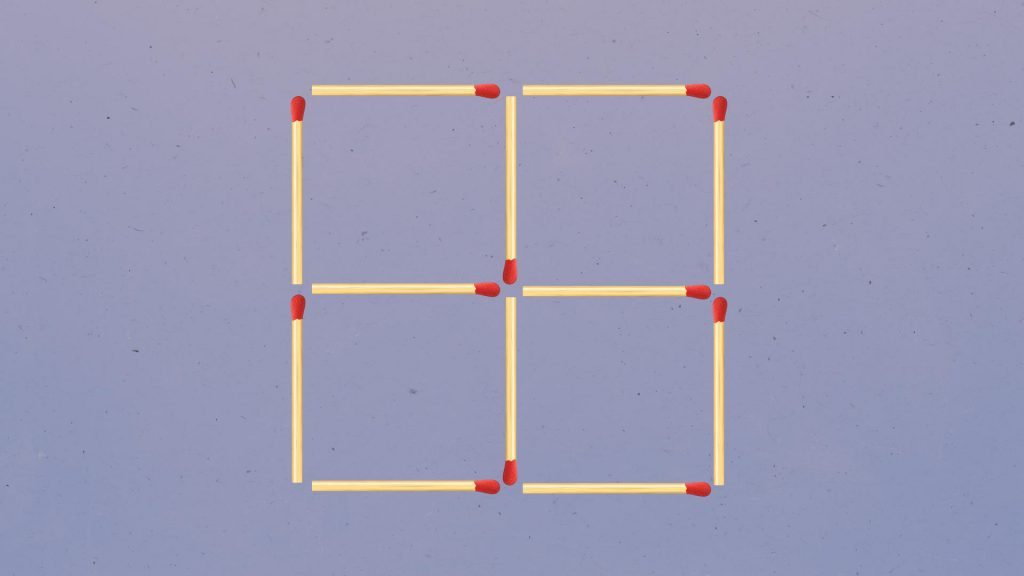 With three moves, make four squares only three
