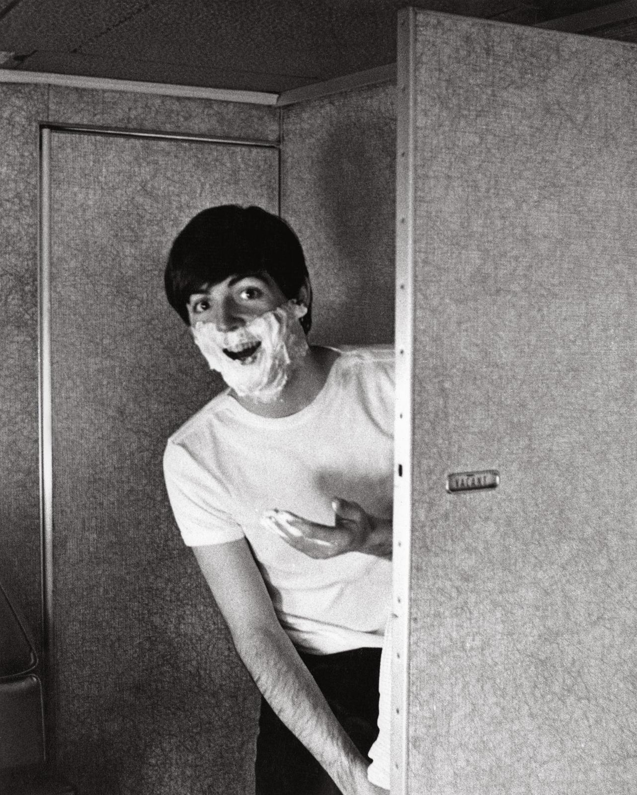 Preparing for the Beatles' first visit to New York: Paul Shave.  (February 7, 1964)