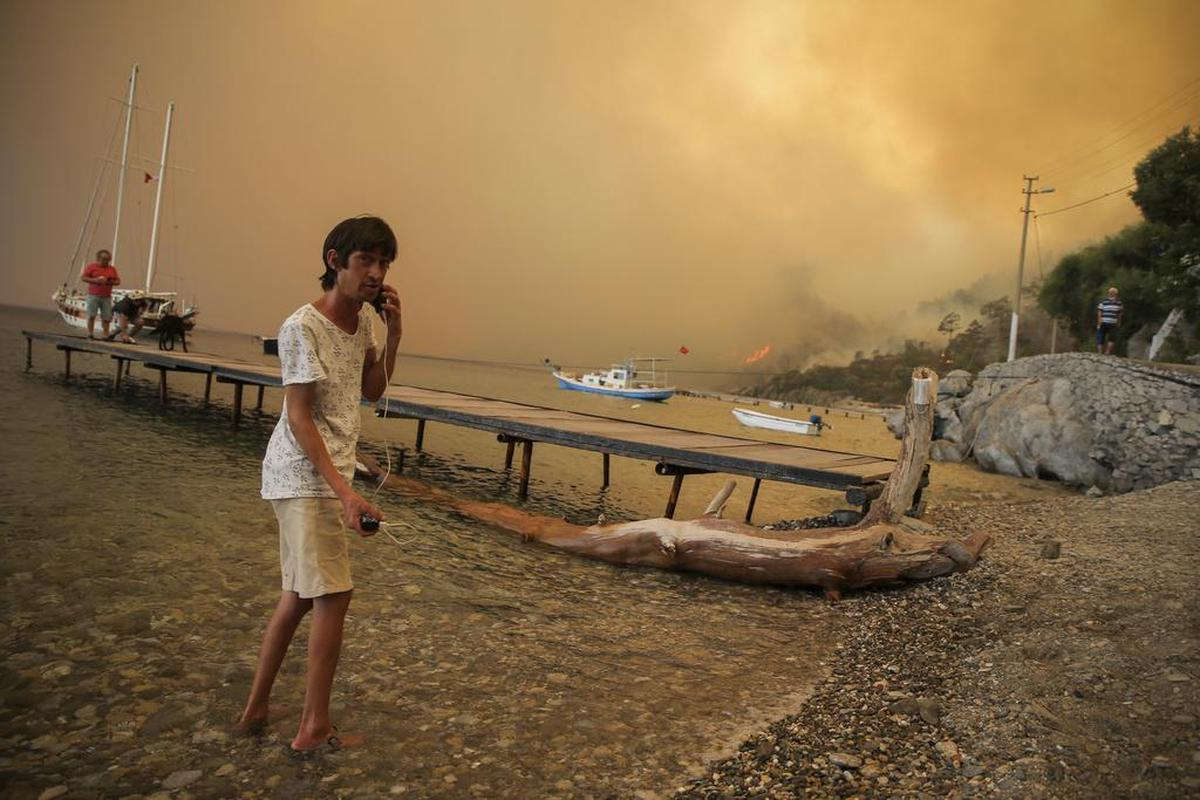 With heat comes fire: a beach in Turkey.