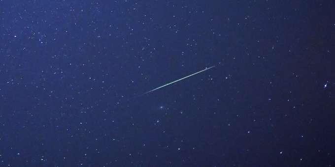 Shooting star in the night sky