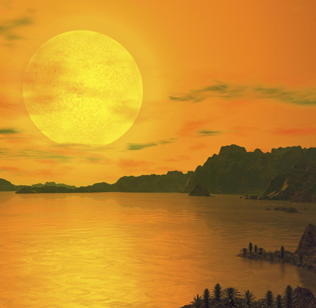Illustration of a hypothetical landscape on the exoplanet Gliese 581 c