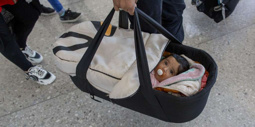 A five-month-old baby has arrived in the United States