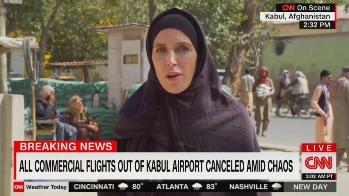Recently wearing a hijab: CNN correspondent Clarissa Ward in Kabul.