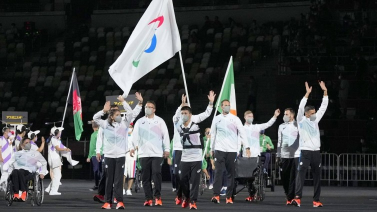 Tokyo Paralympics: Opening Ceremony The refugee Paralympic team marches during the opening ceremony of the Tokyo Paralympics at the National Stadium in Tokyo on Aug. 24, 2021 (IMAGO / Kyodo News)