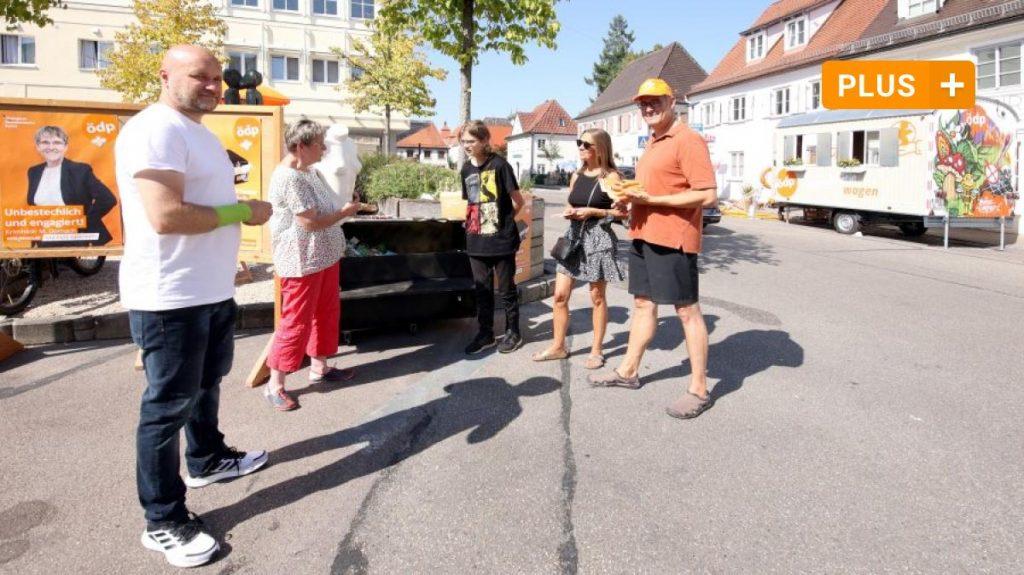 Günzburg: ÖDP visits: Mayor-Landmann-Platz in Günzburg turns orange